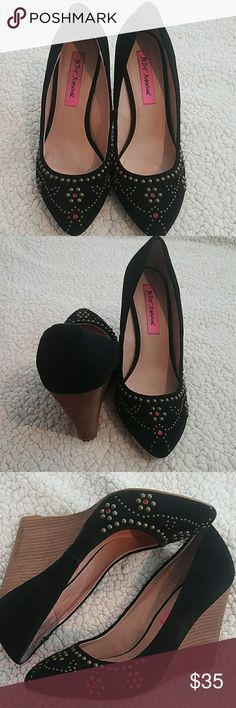 """Betsey Johnson Arriel Black Studded Wedges 7.5 Pre-owned!!  Black studded wedges with red rhinestones very little wear. Please see pictures. Well taken care of.  Genuine Suede 4"""" inch Heel  *Pet and smoke-free home! I often adjust my price during Posh parties and promos, keep an eye out!! Offers welcomed! Betsey Johnson Shoes Wedges"""