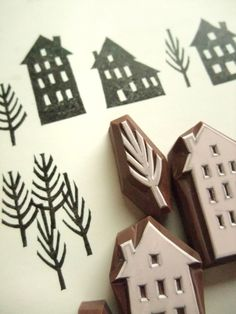 WINTER STREET - hand carved rubber stamp set