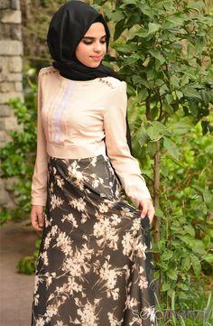 Sefamerve Kombin Elbise GLY 140821-03 Vizon Siyah