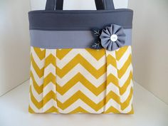 Yellow and Grey Chevron Pleated A-Line Bag - Gray and Yellow Handbag - Diaper Bag - Pleated Zig Zag Fabric Tote Bag - Winter Purse on Etsy, $65.00