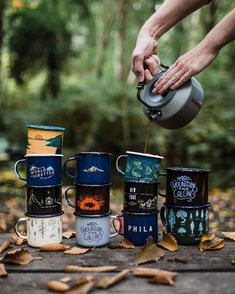 Hand-dipped enamel steel mugs that are sturdy, campfire proof, and dishwasher safe.