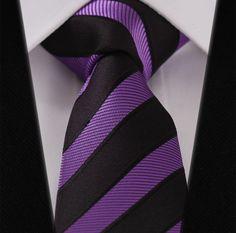 Purple Black Stripe Silk Jacquard Skinny Narrow Slim Man Tie Necktie