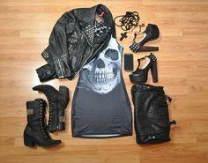 Skull Black dress by Black Milk Clothing