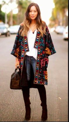 Abrigo kimono bordado boho-chic
