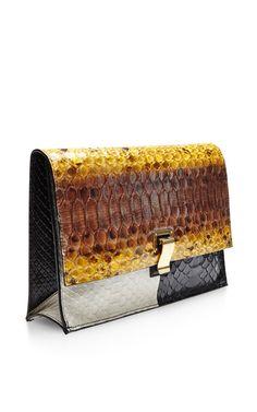 The Lunch Bag Small Color-Block Python Clutch by Proenza Schouler - Moda Operandi