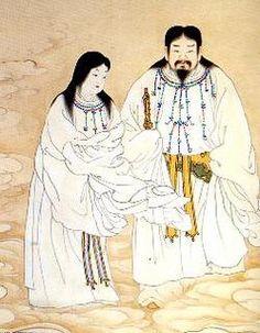 Izanagi 伊弉諾 - 伊弉冉尊 and  Izanami 伊邪那美命  two powerful deities who feature in the Japanese creation myth  イザナギ・イザナミ