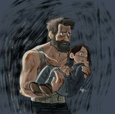 """Logan carrying Laura as seen on recent movie still and TV spot for """"Logan""""! It's even rougher than my usual style, but I hope you like it! Logan and Laura again Ms Marvel, Marvel Dc Comics, Marvel Heroes, Xmen, Hugh Jackman, Disney Pixar, Avengers, Logan Wolverine, Wolverine Art"""