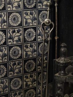 Delft tiles, c.17th century, Dutch.  Inside fire surround in the Dining Room.