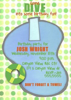 Dive in Swim Party Invitation by nattysuedesigns1 on Etsy, $15.00