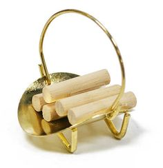 Doll House Miniature Brass Log Basket with Logs