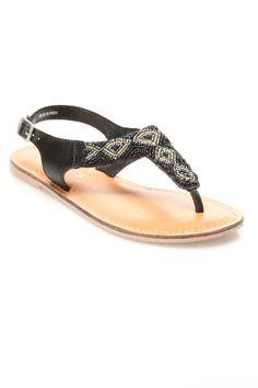 Joni Flat Sandal in Black