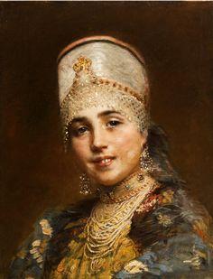 Russian costume in painting. Konstantin E. Makovsky. Boyaryshnya. Late 19-th century. Boyaryshnya is a noble girl in medieval Russia.