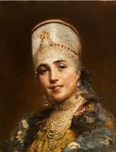 Russian costume in painting. Konstantin E. Makovsky. Boyaryshnya. Late 19-th century. Boyaryshnya is a noble girl in medieval Russia.
