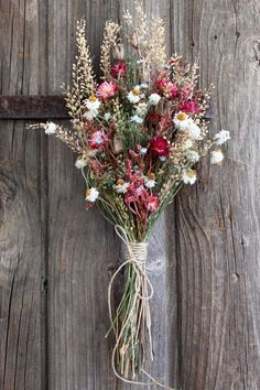 Handcrafted dried flower bouquet flowers include pink strawflowers, pepper grass… – Famous Last Words Small Bouquet, Dried Flower Bouquet, Flower Bouquet Wedding, Dried Flowers, Floral Wedding, Lavender Bouquet, Bridal Bouquets, Wild Flower Bouquets, Wheat Wedding Bouquets