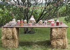 Country Candy Buffet - What a cool idea.  An old door supported by bales of hay make up the base for this country candy buffet.
