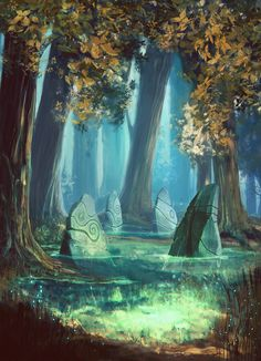 Fantasy Landscape Art Magic Scenery Ideas For 2019 Fantasy Places, Fantasy World, Fantasy Forest, Forest Art, Forest Drawing, Mystical Forest, Forest Trail, Autumn Forest, Dark Fantasy