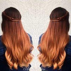 Golden Copper Balayage Hair Color Idea