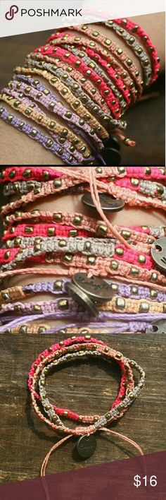 Ketzaly Bohemian jewelry wrap bracelets 100 waxed polyester hand made in Guatemala, gorgeous, available in both colors, blush with mauve and lavender and blush Ketzali Jewelry Bracelets