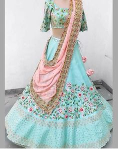 Buy Designer Indian Saree, Bollywood Collection of Anarkali Salwar Suits, Designer Gowns New Designer Embroidered Sky Blue Banglori Silk Lehenga Choli Pakistani Lehenga, Half Saree Lehenga, Lehenga Saree Design, Lehenga Designs, Anarkali, Silk Lehenga, Indian Bridal Outfits, Indian Designer Outfits, Designer Gowns