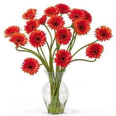Orange Gerber Daisy Liquid Illusion Silk Flower Arrangement