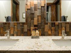 The Latest Bathroom Tile Trends - reclaimed wood for backsplash Latest Bathroom Tiles, Bathroom Tile Designs, Wood Bathroom, Modern Bathroom, Small Bathroom, Bathroom Ideas, Bathroom Trends, Restroom Ideas, Brown Bathroom