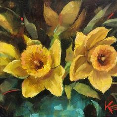 "Daily Paintworks - ""Spring Daffodils"" - Original Fine Art for Sale - © Krista Eaton"
