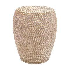 DecMode Gold Metallic Finish Studded Ceramic Stool - 62164