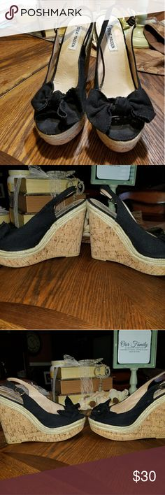 Steve Madden Black Canvas wedges Gently used. Only worn 1x. Has been sitting in my closet, so it has a little lent on them. Box is torn. Size 8 1/2. No flaws. Have a lot of life left. Steve Madden Shoes Wedges
