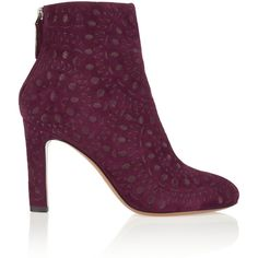 Alaïa Embroidered suede ankle boots (€1.040) ❤ liked on Polyvore featuring shoes, boots, ankle booties, merlot, high heel bootie, bootie boots, high heel ankle booties, suede ankle booties and high heel booties