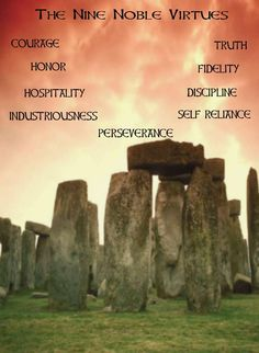 Pagan Wiccan, the Nine noble virtues of the Asatru, 8 by 10 print