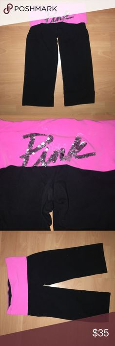 PINK YOGA PANTS Worn one time!! In excellent condition! Like new. Make me an offer :) PINK Victoria\'s Secret Pants