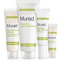 Murad - Resurgence Starter Kit -$45- Renewing Cleansing Cream (1.5 oz.) Intensive Age-Diffusing Serum (0.33 oz.) Renewing Eye Cream (0.14 oz.) Age-Balancing Moisture Broad Spectrum SPF 30 / PA+++ (0.6 oz.)