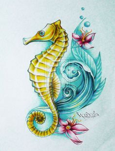 i want to get a seahorse tattoo. Sort of like this one. this drawing was done by an artist on Deviant Art.