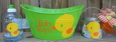 Personalized Bucket - Rubber Ducky Tub Toys Bucket, BPA Free Water Bottle and Clear Pail