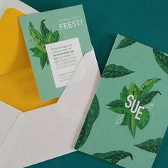 Sue's birthcard by Nena Driehuijzen (www.studionunu.com) #leaves #tropical #birthcard