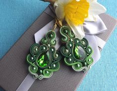 Shadows of green with Crystall Soutache Earrings