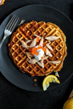 These savory waffles were inspired by the Solomon Gundy waffles at M Wells Steakhouse in Long Island City, Queens It starts with a mashed potato waffle batter, which is baked in a waffle iron until very crisp around the edges