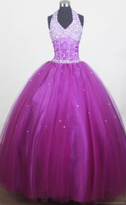 Cheap New Beaded Halter Top Purple Pageant Dress for Kids