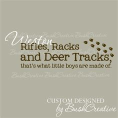 Wall Decals Rifles Racks and Deer Tracks Custom Name on Etsy, $25.00