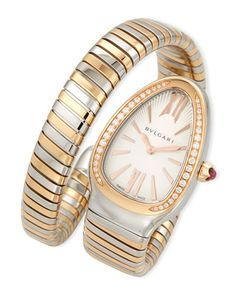 35mm+Serpenti+Tubogas+Diamond+Watch,+Two-Tone/Cream+by+BVLGARI+at+Neiman+Marcus.