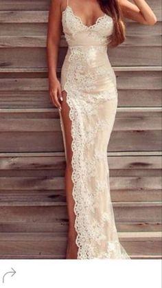 High leg slit wedding dresses