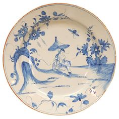 18th C. English Delft Charger at 1stdibs