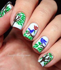 Springtime Nail Art -  spring trees and love birds      Sassy Shelly