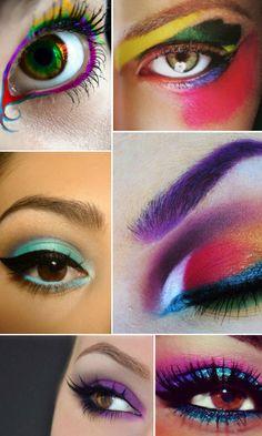 olhos coloridos com delineador e sombra para o carnaval