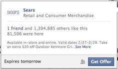 #Facebook Tests Online Redemption Codes In Offers