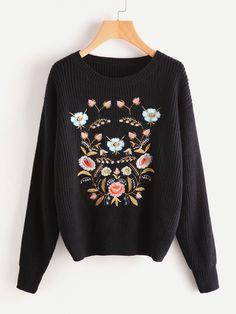 Shop Flower Embroidered Drop Shoulder Jumper online. SheIn offers Flower Embroidered Drop Shoulder Jumper & more to fit your fashionable needs.
