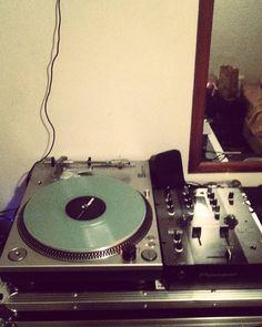 Stepping away from the controller side of djing . #vinyl #dj #turntables #pioneer #djm #stanton #controllerism #turntablism #justone #bedroombangers #glowinthedark #needles #scratch #kev #95tilinfinity by djkev1995 http://ift.tt/1HNGVsC
