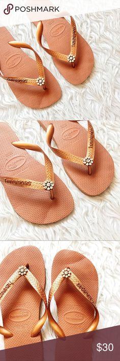 • Havaiana's • Rhinestone Flip Flops Havaiana flip flops. Copper color Havaianas Shoes Sandals