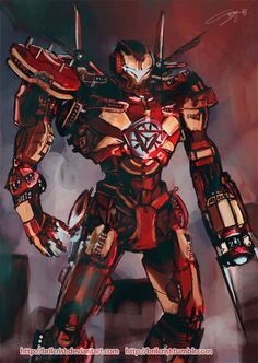 Ironman as a freaking Jaeger from Pacific Rim. This person is insanely talented. Design by Brilcrist! Gi Joe, Robot Militar, Transformers, Iron Man Art, Marvel And Dc Characters, Avengers Art, Comic Movies, Comic Books, Pacific Rim