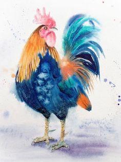 «Босс» - петух - страна декор - фарм арт - птица арт - рисунок петуха - ферма…